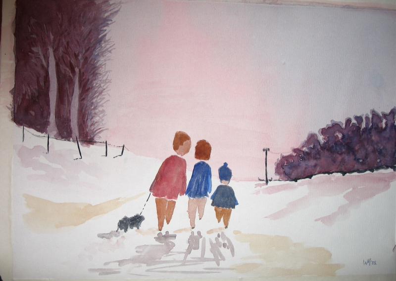 Drie mensen in de sneeuw