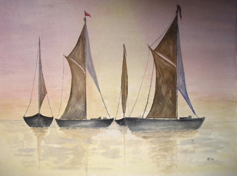 Vier boten met zeilen