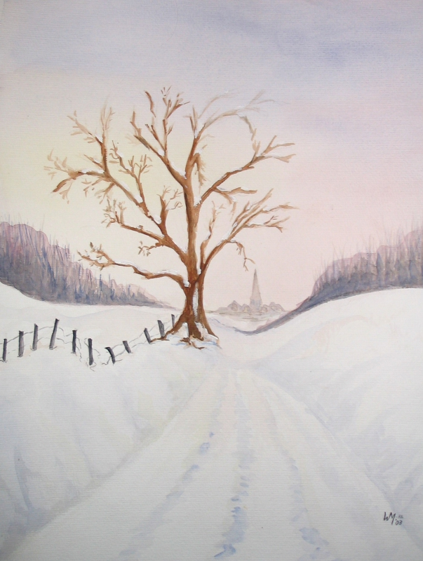 Winterlandschap met een boom