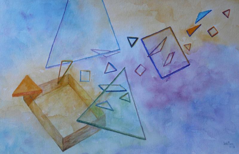 Glazen drie en vierhoeken uit doos